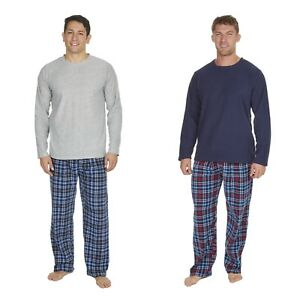 Mens-Winter-Long-Sleeved-Ribbed-Fleeced-Top-Bottoms-Lounge-Wear-Pyjama-Set-Size
