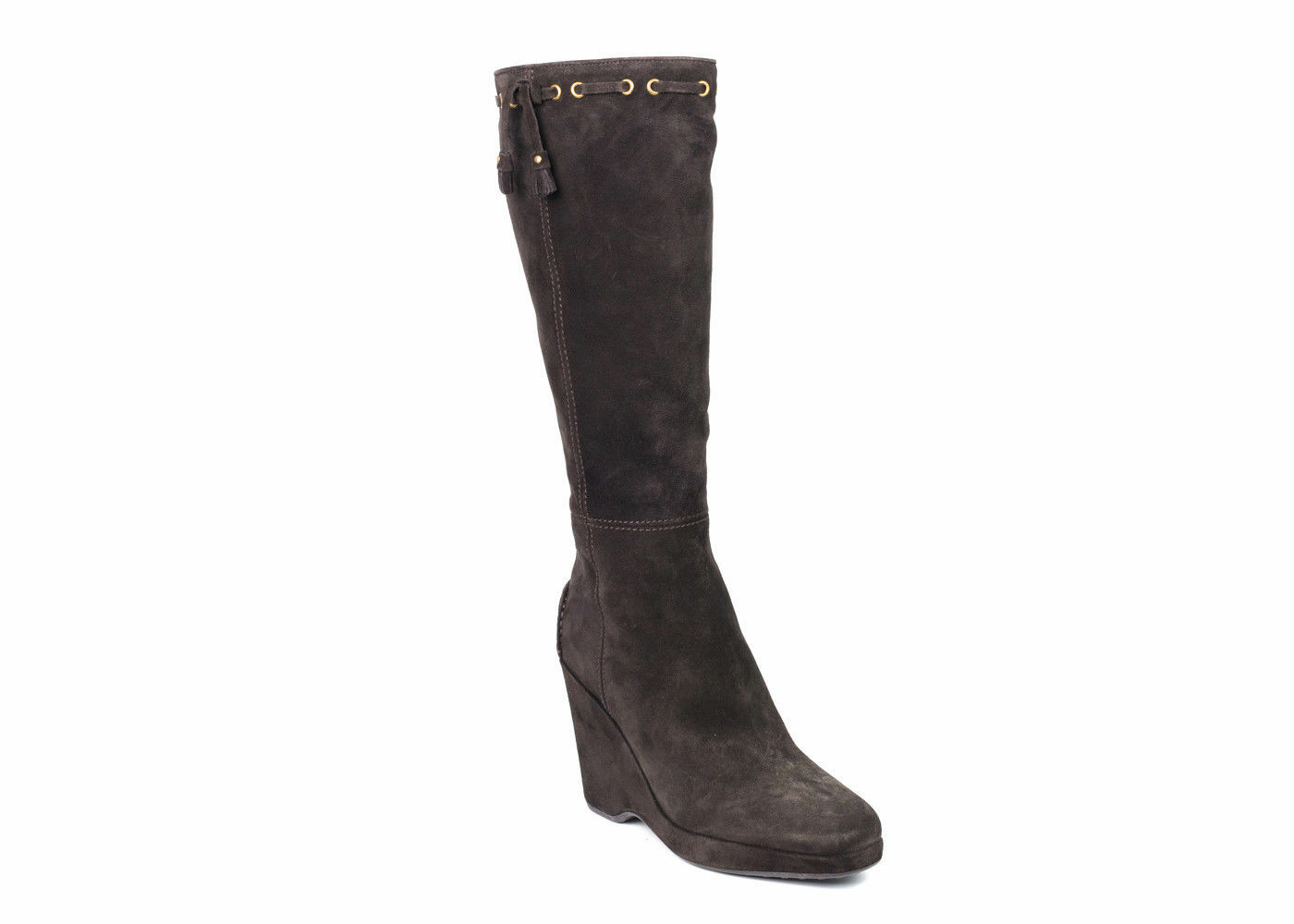 Car chaussures By Prada Chocolate marron Suede Knee-High Tassel bottes Taille 38 8