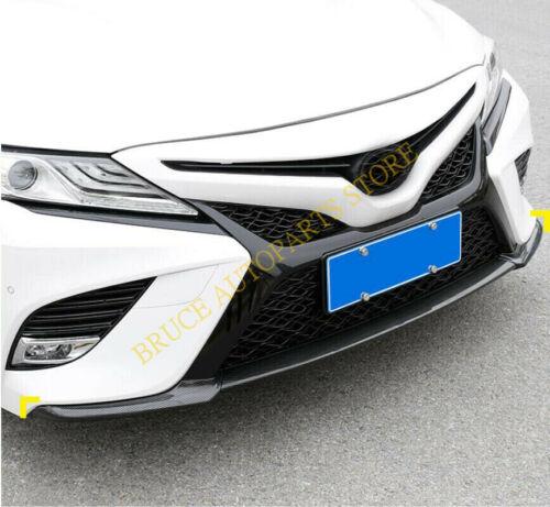 For Toyota Camry 18-20 3pcs Carbon Fiber Front Bumper/&Side corner Lip Trim Set j