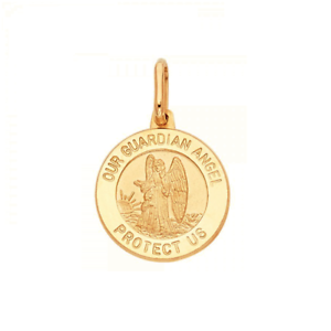 14K Solid Yellow Gold Guardian Angel Medal Pendant Round Polished Necklace Charm