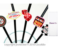 Coco & Bo 10 x Pajas casino de Las Vegas Cóctel Fiesta Noche Poker Decoraciones