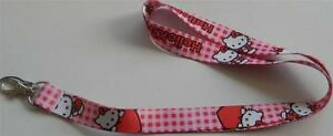 MOBILE-PHONE-IDENTITY-CARD-LANYARD-NECK-STRAP-HELLO-KITTY-PINK-CHECK-HEART