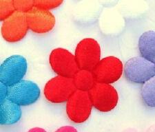"200 Satin/Felt 1"" Flower 2 Sided Applique/trim/Daisy/Craft/Sewing/Bow L53-Red"