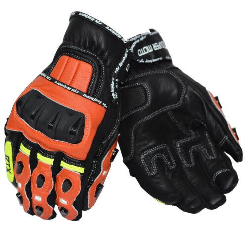 RTX G4 Dark Orange SUPER MOTO Pro Sport Short Biker CE LEATHER Motorcycle Gloves