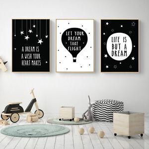 Details About DREAM Motivational Quote Black White Canvas Art Posters  Prints Kids Room Decor