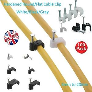 Black Plastic Cable Clips Fixing Nails for Round Wire Arctic Flex etc 2.5mm