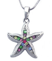Colorful Starfish Bridesmaid Pendant Necklace Wedding Anniversary Bridal Jewelry