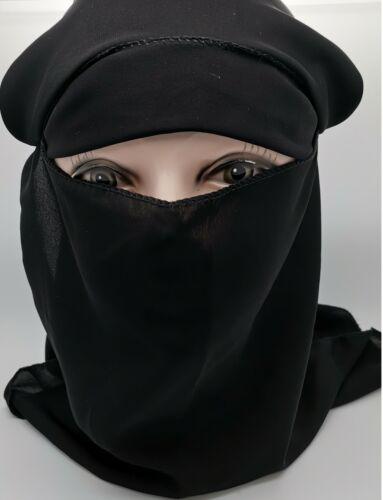 DUBAI NIQAB MUSLIM HIJAB 2 LAYER ISLAMIC Face Cover Veil Burqa Burka Nikab New