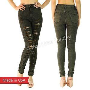 4ac75013ce69 Image is loading Hot-Sexy-Olive-High-Waist-Ripped-Distressed-Skinny-