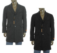$295 NEW MENS TALLIA ORANGE WOOL BLEND RIB KNIT COLLAR LONG COAT BLACK / GRAY