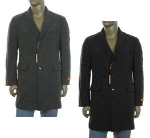 295-NEW-MENS-TALLIA-ORANGE-WOOL-BLEND-RIB-KNIT-COLLAR-LONG-COAT-BLACK-GRAY