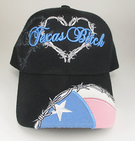 Texas Bitch Black Pink Tx Flag Barbwire Heart Ball Cap Adjustable Back Strap