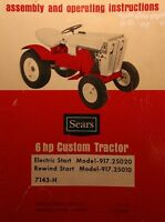 Sears Custom 6 Garden Tractor, Engine, Implements Owner & Parts (8 Manuals)102pg
