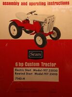 Sears Custom 6 Riding Lawn Garden Tractor & Engine Owner & Parts (3 Manuals)50pg