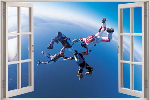Huge 3D Window view Sky Diving Divers Wall Sticker Film Art Decal 398