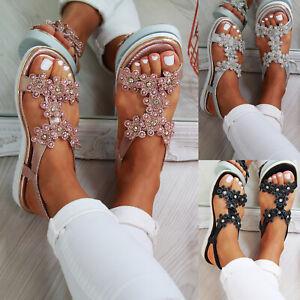 85f12d9a3 Image is loading New-Womens-Flatform-Sandals-Embellished-Slingback-Comfy- Holiday-