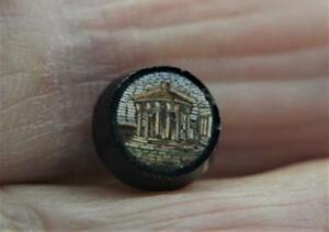 Antique-Victorian-Micro-Mosaic-Parthenon-Temple-ring-pendant-setting-x-9-7-mm