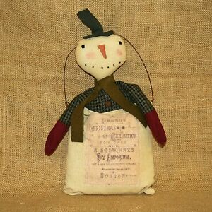 Snowman-in-Vintage-Christmas-Exhibition-Advertisement-Bag-Primitives-by-Kathy