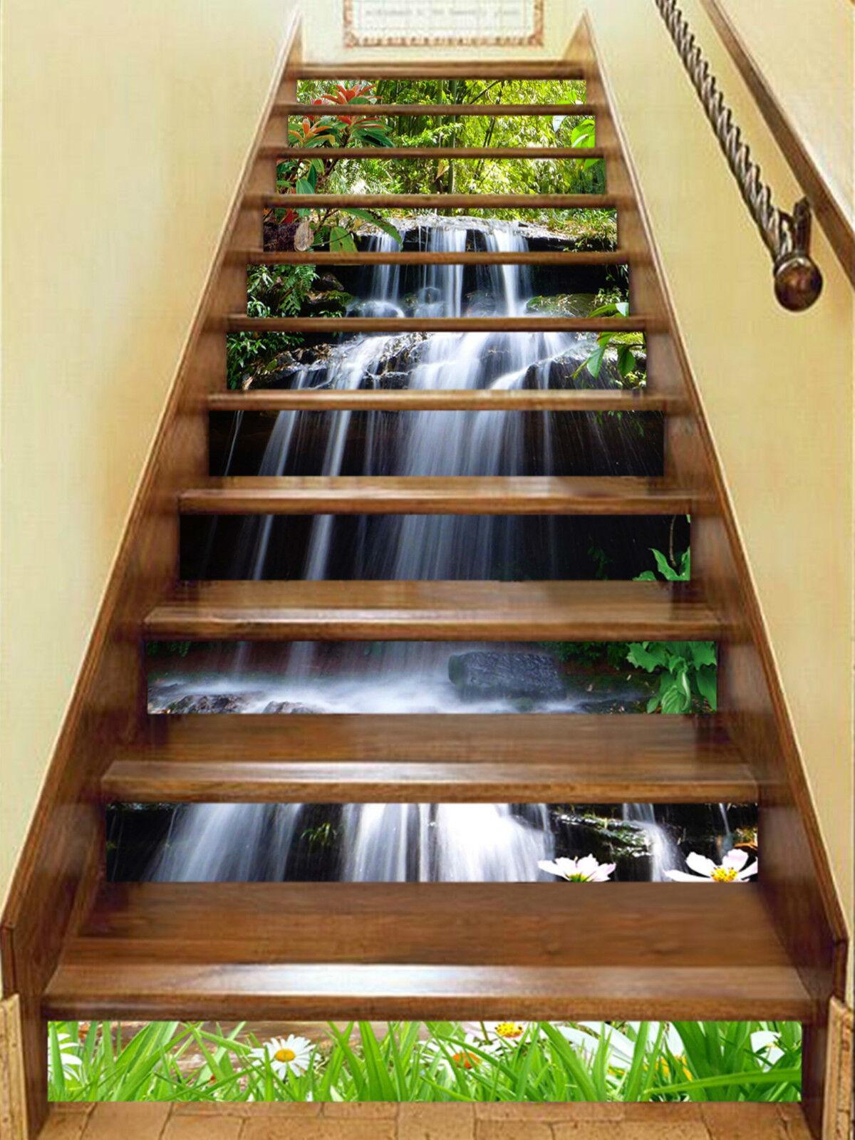 3D Wasserfall 3788 Stair Risers Dekoration Fototapete Vinyl Aufkleber Tapete DE