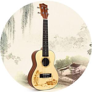 Kmise Ukulele Concert Ukelele 23 Inch Hawaii Guitar Solid Spruce For Beginner 634458873413 Ebay