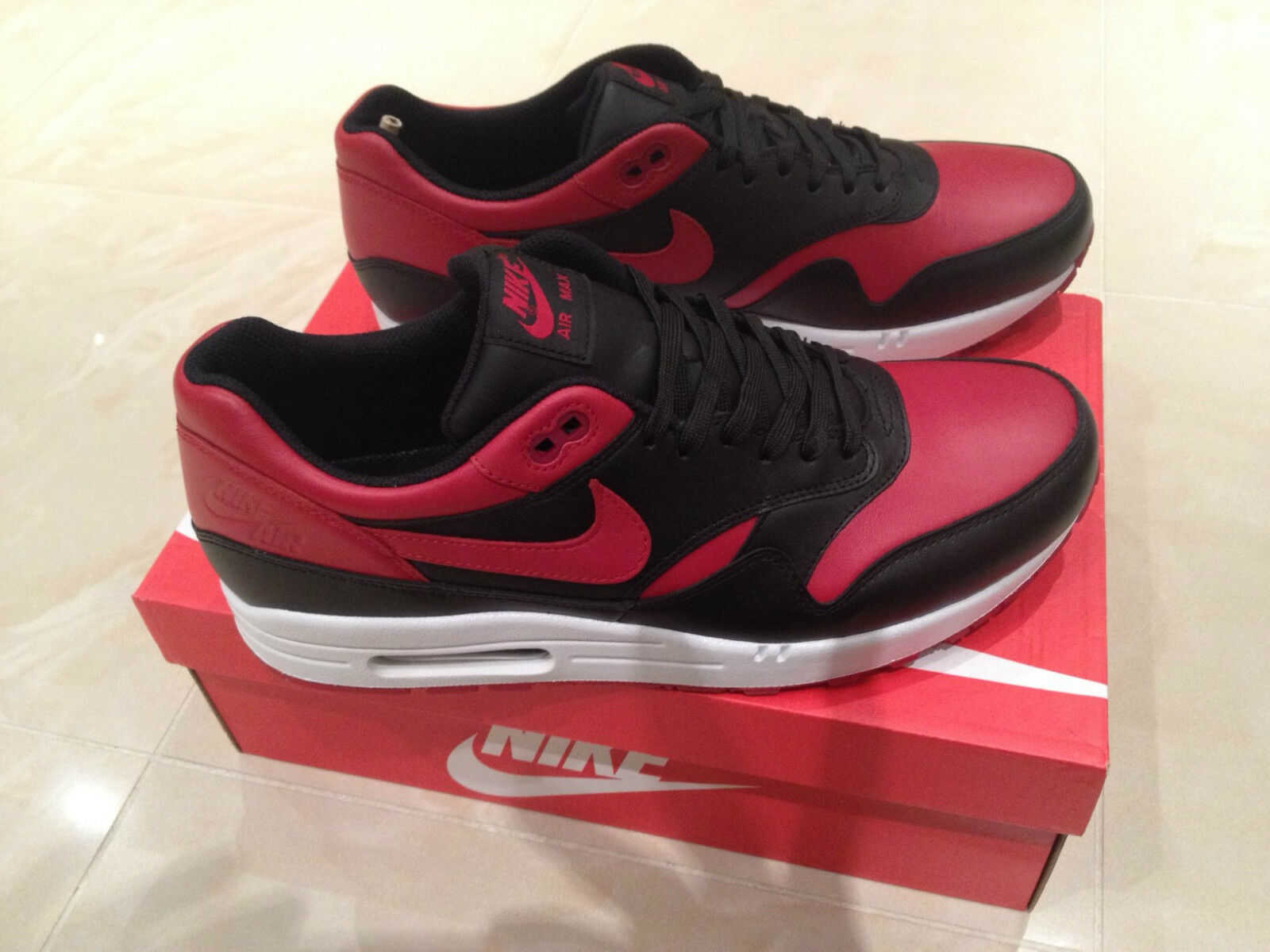 2015 2015 2015 NIKE AIR MAX 1 BRED PRM QS VALENTINES RED BLACK SIZES 6 7 & 8 NEW *LOOK* acb716