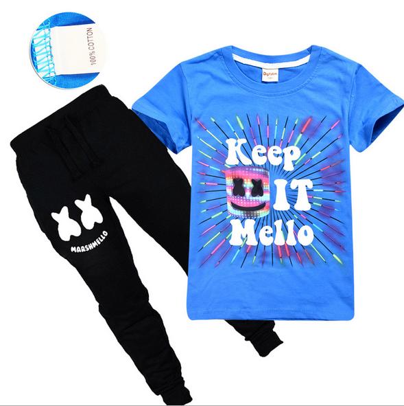 Boys Girls Marshmello DJ Kids Short Sleeve T-shirt /& Pants Summer Costume Sets