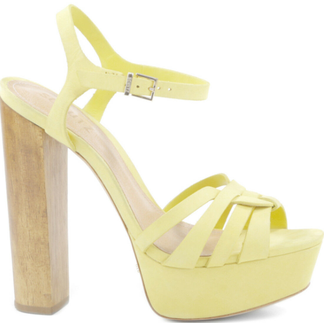 Schutz Wouomo giallo Mannu High Heel Platform Ankle Strap Sandal Pumps