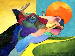 MOO-COW-Original-8x10-Art-Framed-Painting-Sherry-Shipley