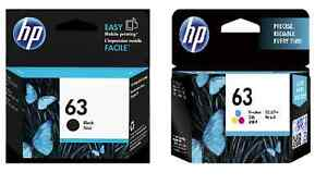 2-x-Genuine-HP63-ink-cartridges-F6U62AA-black-F6U61AA-colour-for-HP2132-3630