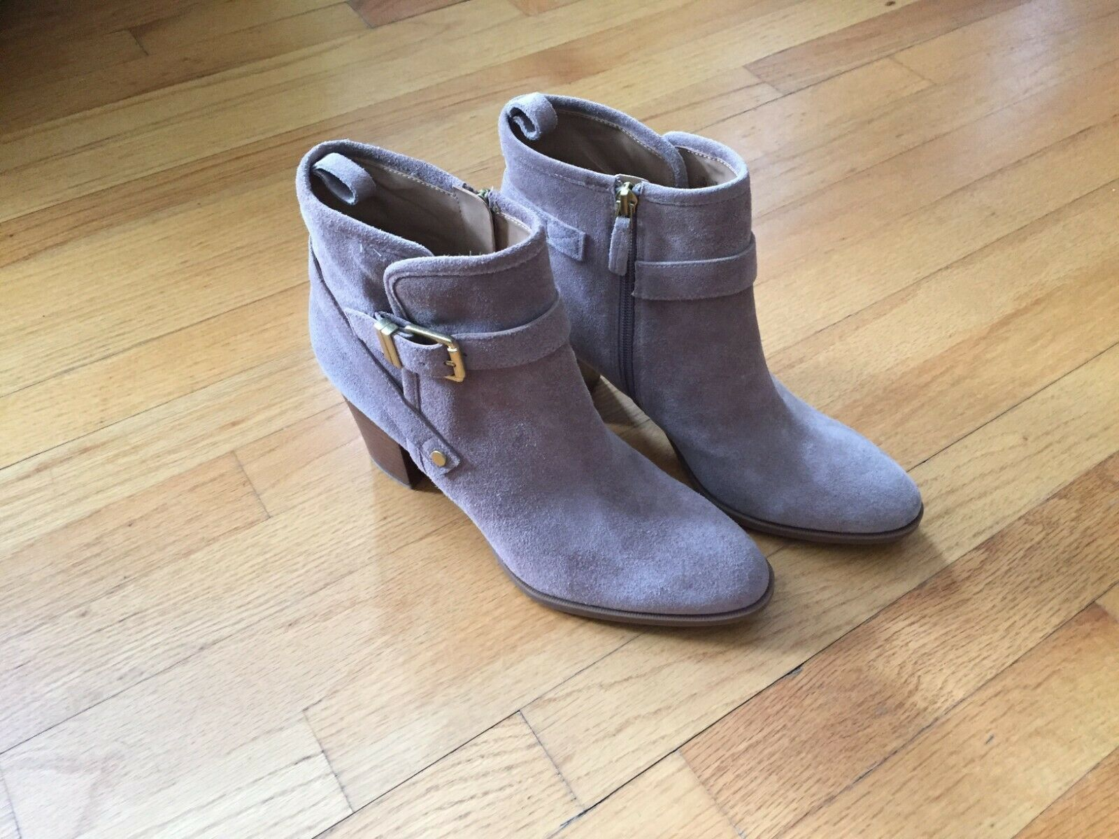 NEW Franco Sarto Tan Suede Ankle Fashion Zipper Boots Booties Ladies Size 10 us