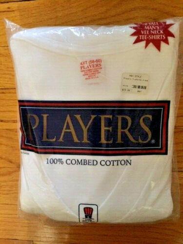 Players Tall Man White Cotton V-neck T Shirt undershirts 2 Pack size 4XT-6XT