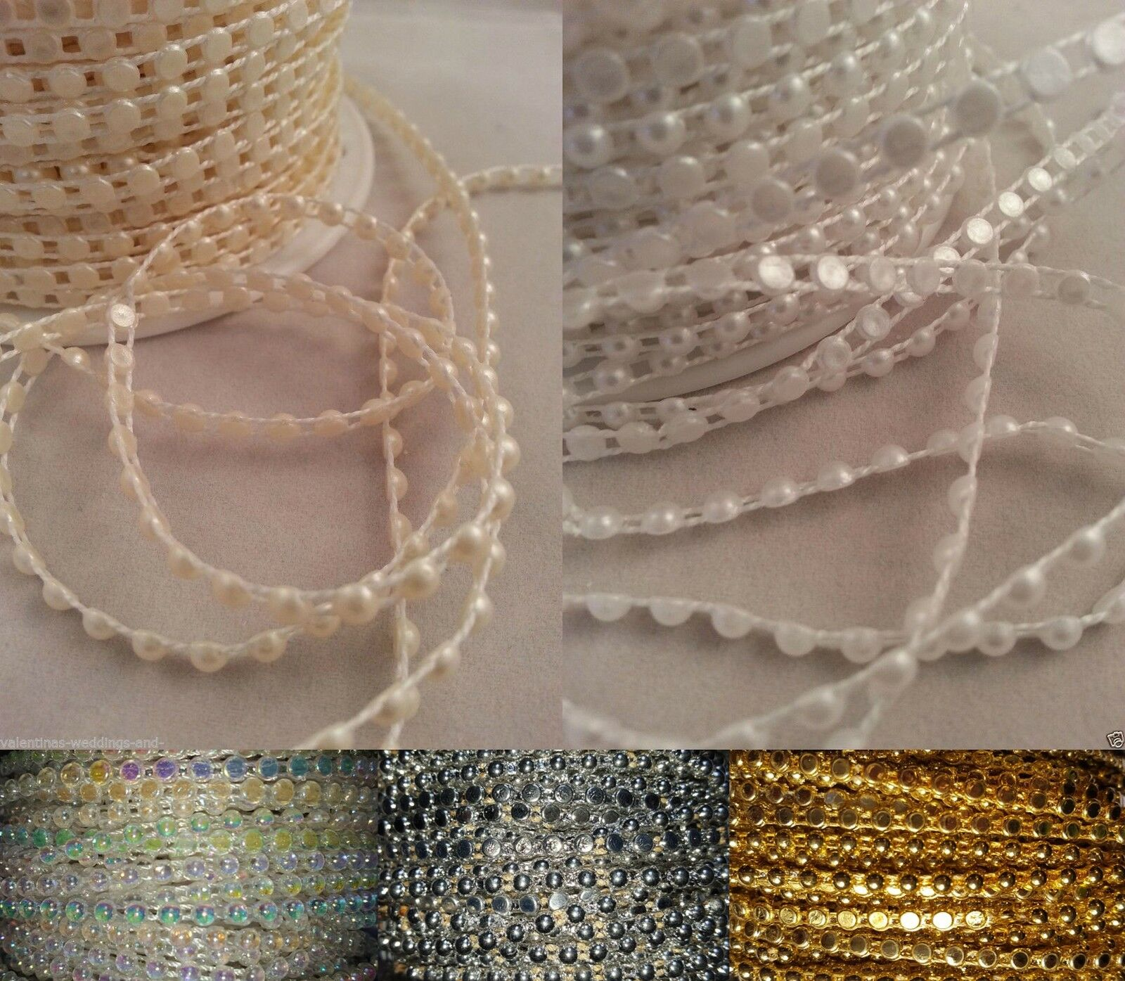 Trimits Flat Backed Pearl Beading 4mm Pack of 3m