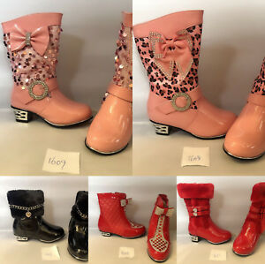 CLEARANCE-Kids-Baby-Infant-Girls-Diamante-Bridal-Prom-Wedding-Party-Shoes-Boots