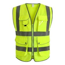 9 Pockets Class 2 High Visibility Zipper Front Safety Vest With Strips X Large