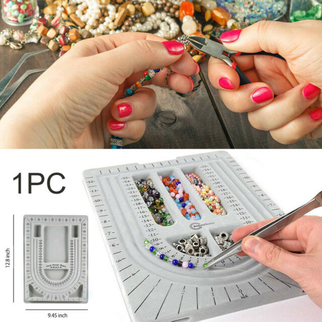 Flocked Bead Design Board Beading Organiser Tray Jewelry Tool 24x32x1.5 cm NEW