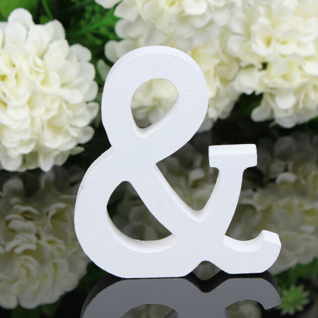 8X1.2cm (thick) Wood Wooden White Letters Alphabet Wedding  Birthday Home Decor