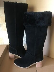 dd65c30bae4 Details about UGG KASEN TALL BLACK SUEDE SHEEPSKIN CUFF KNEE HIGH BOOTS  SIZE US 9 WOMENS