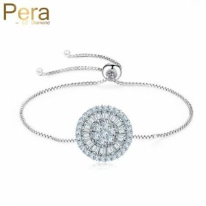 Sparkling-CZ-Crystal-Adjustable-Bracelet-Big-Round-Xmas-Gifts-For-Her-Wife-Women