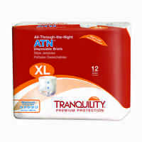 Tranquility ATN All-through-the-Night Fitted Briefs Size Extra-Large X-Large Case of 60 5 bags of 12 Health Aids