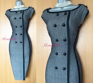 KAREN-MILLEN-UK-10-Classy-Black-Grey-Tweed-Wool-Office-Work-Wiggle-Pencil-Dress
