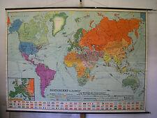 Schulwandkarte schöne alte Erde Weltkarte Deutschland 235x168c vintage map ~1955