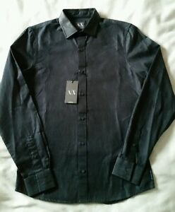 ARMANI MEN'S SHIRT CHARCOAL GREY SOFT DENIM WITH CONTRAST FABRIC COLLAR rrp£110