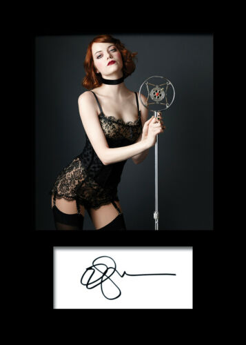 EMMA STONE #1 A5 Signed Mounted Photo Print FREE DELIVERY