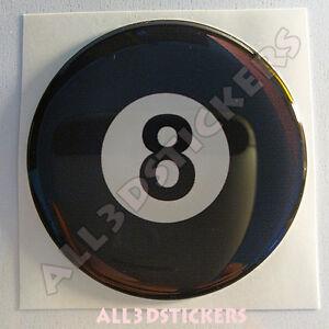 Pegatina-Bola-Billar-Numero-8-Negra-Suerte-Adhesivo-Relieve-Coche-Moto-3D