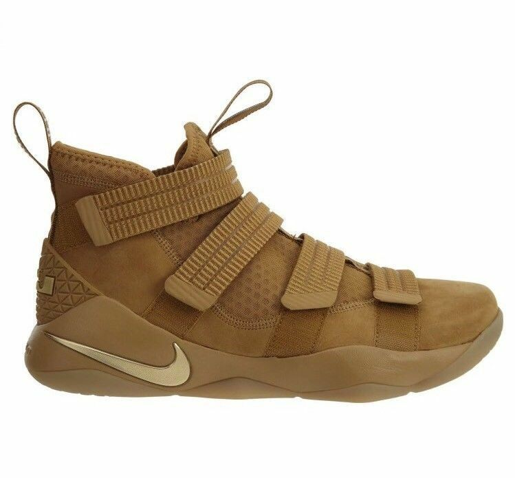 New Nike Men LeBron Soldier XI SFG shoes Wheat gold Metallic gold 897646-700
