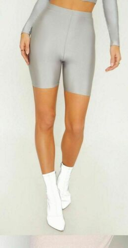 LADIES CYCLING SHINY PANTS WOMENS STRETCHY LYCRA SHORTS ACTIVE CASUAL GYM PLAIN