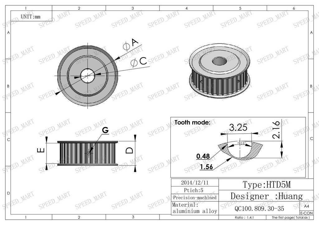 5m htd5m aluminum timing belt pulley 30 teeth 14mm bore 16mm width stepper motor