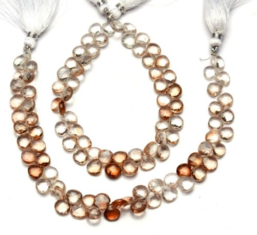 """Details about  /Natural Gem Champagne Imperial Topaz Faceted 7.5MM Heart Shape Briolette Beads8/"""""""