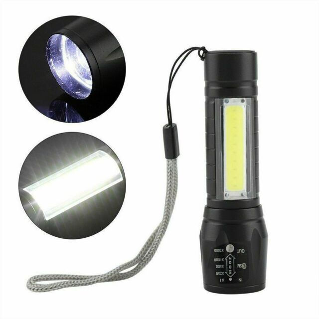 10X Portable T6 COB LED USB Rechargeable Zoomable Flashlight Lamp Light Torch IR