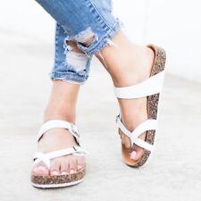 fe5a9102a6a4 item 2 New Womens Open Toe Double Buckle Slide Cork Platform Flat Sandal  Flip Flops -New Womens Open Toe Double Buckle Slide Cork Platform Flat  Sandal Flip ...